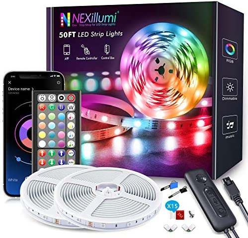 50ft LED Strip Lights, Fussion LED Lights for Bedroom with Remote and App Control Music Sync LED Light Strip(New APP+ 4-Button Switch+ Remote+ Mic)