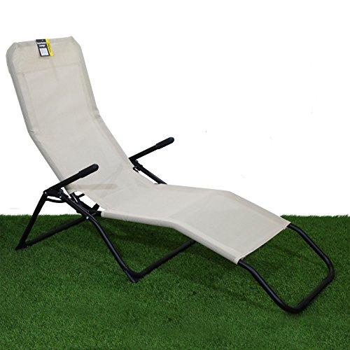 Rocker Lounger Cream Sun Chair Recliner Outdoor Garden Furniture Folding...