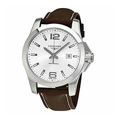 Longines Conquest Silver Dial Brown Leather Mens Watch L37604765