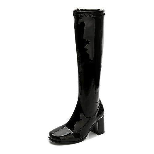 10574123b60fa LIURUIJIA Women's Go Go Boots Over The Knee Block Heel Zipper Boot ...