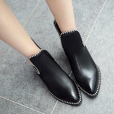 hasta Tobillo Zapatos Bajo Moda Botines Para Tobillo Casual Botas Dedo el amp;M Botas Hasta redondo Cuero de el Tacón Botas Heart real Invierno Mujer SvxqwnEZ7