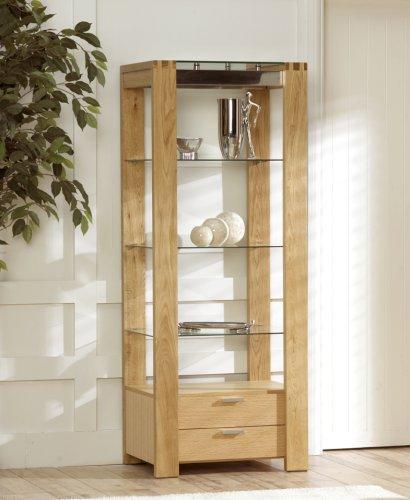 Cannes Oak and Glass Display Cabinet & Cannes Oak and Glass Display Cabinet: Amazon.co.uk: Kitchen u0026 Home