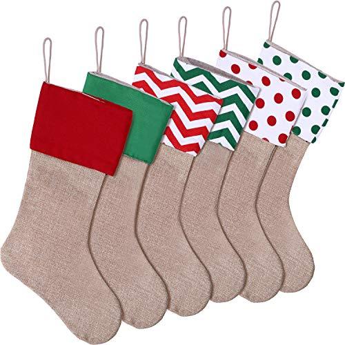 SATINIOR 6 Pieces Christmas Burlap Stockings Xmas Hanging Stockings Decorative Stocking Holders for Christmas Decor -