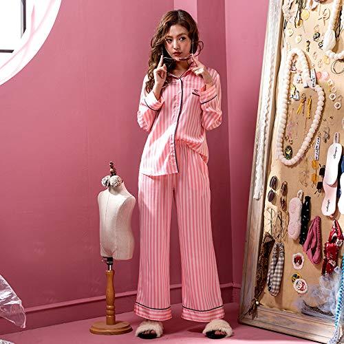 Donna A Gamba Pigiama Pigiameria Seta Camicie Rosa Larga Notte Righe Maniche Pantaloni Camicia Pigiami Lunghe l Da 8WPqxPrwC5