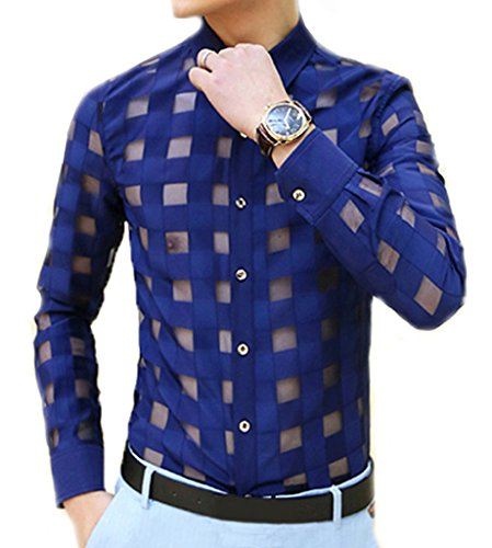 Ouye Men's Long Sleeve Plaid See Through Casual Shirt , Blue, US S - Chest 34