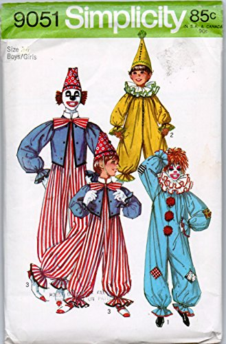 Simplicity 9051 Vintage 70s Child's Clown Costume Sewing Pattern,Check listings for Size