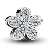 #10: BAMOER 925 Sterling Silver Dazzling Daisy Plant Charm Fit Bracelet With CZ DIY Accessories Jewelry