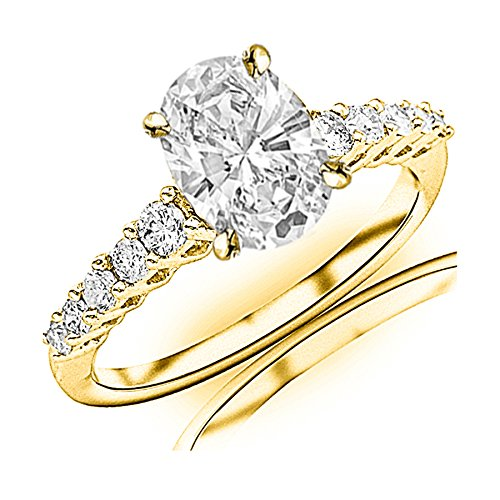 Gold Classic Prong - 0.95 Carat t.w. GIA Certified Oval Cut 14K Yellow Gold Classic Prong Set Side Stone Diamond Engagement Ring (I-J Color VVS1-VVS2 Clarity Center Stones)