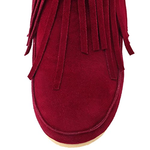 Slip boots AIYOUMEI Red Winter Toe Round Hight Womens on Booties Autumn Flat Tassel with ankle Increasing wwqfT7