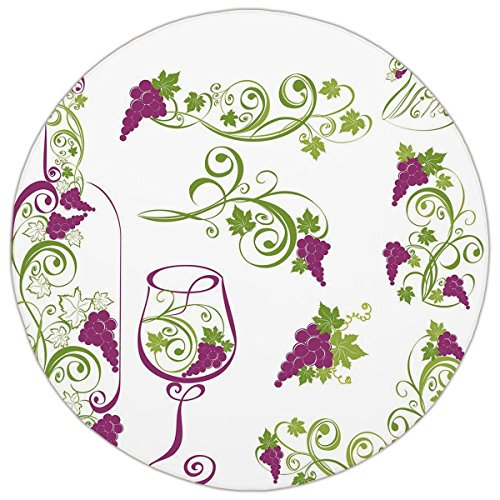 Round Area Rug Mat Rug,Wine,Wine Bottle and Glass Grapevines Lettering with Swirled Branches Lines Decorative,Purple Lime Green White,Home Decor Mat with Non Slip Backing