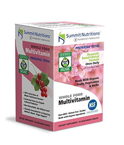Summit Nutritions Certified Organic Vegan Kosher Wholefood Multivitamins: Non-GMO, Certified Kosher: Gluten Free: Total Organ Support: Once a Daily: Can be taken EMPTY STOMACH: PRE NATAL'S TOTAL