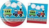 Train Birthday Party Supplies / Plates & Napkins Bundle - 2 Items: 9 Inch Paper Plates and 6.5 Inch Napkins for 16 Guests