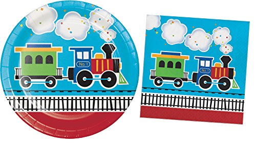 Train Birthday Party Supplies / Plates & Napkins Bundle - 2 Items: 9 Inch Paper Plates and 6.5 Inch Napkins for 16 Guests by Unknown
