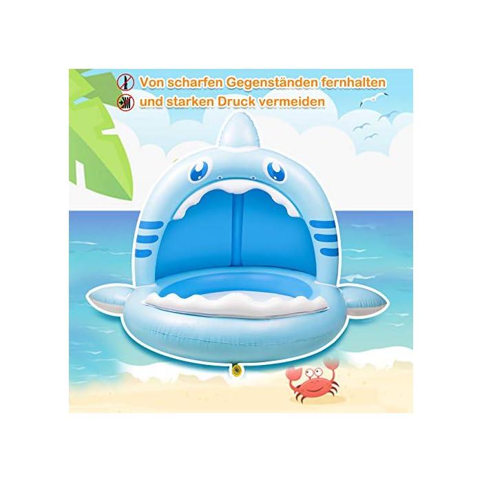 【Alta calidad】: esta piscina hinchable infantil está hecha de PVC de alta calidad, impermeable y hermética. Es divertido para los bebés y fácil de inflar, lo que mantiene a los niños frescos y seguros. 【Techo de protección solar】: el techo de protección solar protege a los bebés de la luz solar directa. Esta piscina infantil ofrece a su bebé un lugar fresco y fresco en el caluroso verano. 【Adorable diseño con forma de tiburón】: esta piscina infantil para niños tiene la forma de un tiburón, es muy linda y adecuada para bebés y niños. Y tu bebé se enamorará de este piscina hinchable.