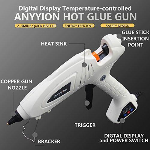 Hot Glue Gun, Anyyion 300W Industrial Glue Gun High Temperature Digital Display Hot Melt Glue Gun,White by Anyyion (Image #1)