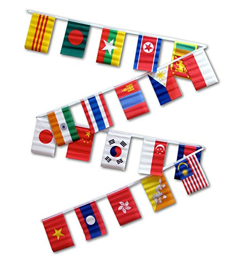 30ft String Flag Set of 20 Asian Country Bunting Flag Banner Flags PREMIUM Vivid Color and UV Fade BEST Garden Outdor Decor Resistant Canvas Header and polyester material - For Asians Best Colors