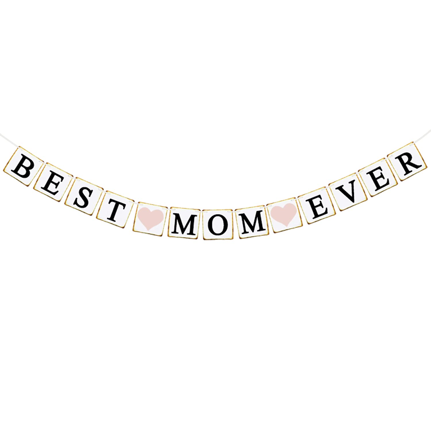 JOZON Best Mom Ever Banner Mother's Day Bunting Banner Garland with Heart Signs for Mothers Day Party Decorations Best Mom Ever Decor for Mantle Fireplace Wall Party Supplies