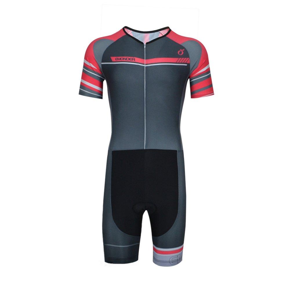 EMONDER Men's Triathlon Suit Short Sleeve Skinsuit Tri Suit Cycling Skinsuit Breathable Quick Dry Team Bike Swim Runing Clothing (Gray,S)