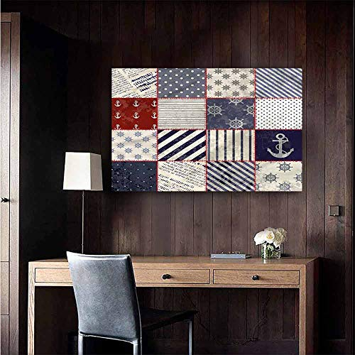 Wall Paintings self-Adhesive Nautical Maritime Motif Sailor Knot TV Backdrop Wall Size : W48 x -