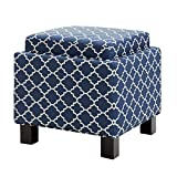 Shelley Square Birch Legs Storage Ottoman with Pillows,100% Polyester,18W x 18D x 18H'' (Navy)