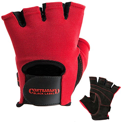 Black And Red Gloves (Contraband Black Label 5050 Basic Weight Lifting Gloves (PAIR) (Red, Medium))