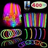 """Glow Sticks Bulk 400 8"""" Glowsticks (Total 800 Pcs 7 Colors); Glow Stick Bracelets; Glow Necklaces Superbowl Party Supplies Pack with 400 Bracelet Connectors."""