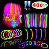 "Glow Sticks Bulk 400 8"" Glowsticks (Total 800 Pcs 7 Colors); Glow Stick Bracelets; Glow Necklaces Light Up July 4th Halloween Party Supplies Pack with 400 Bracelet Connectors"