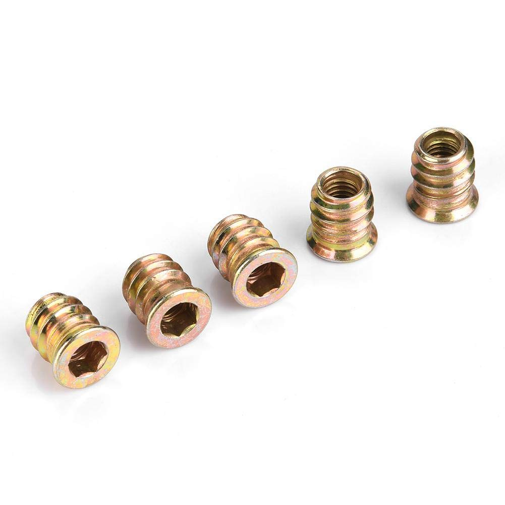 6 tipi M6 Dado a testa piatta a testa esagonale in ferro filettato per elemento di fissaggio del connettore per mobili in legno M6*15 50pcs