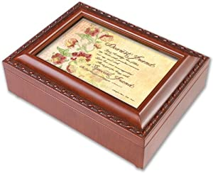 dearest friend cottage garden wood grain finish jewelry music box plays song what. Black Bedroom Furniture Sets. Home Design Ideas