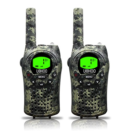 Kids Walkie Talkies, UOKOO Two-Way Radios 22 Channels and Back-lit LCD Screen (up to 6KM in open areas) Walkie Talkies for Kids (1 Pair) Camo T668
