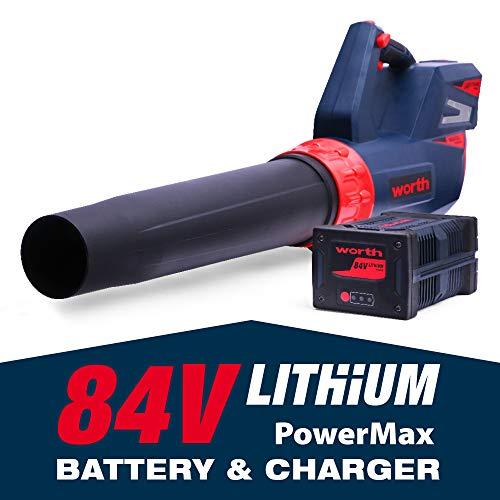 Worth Garden 84V Lithium-ion Battery Cordless Leaf Blower Powerful Handheld 125MPH 500CFM 3-Speed...