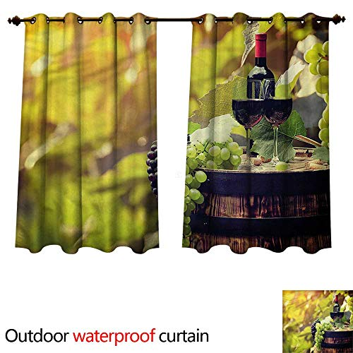 cobeDecor Wine Outdoor Curtains for Patio Sheer Agriculture Country Drink W108 x L72(274cm x 183cm)