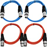 SEISMIC AUDIO - SAXLX-3-4 Pack of 3' XLR Male to XLR Female Patch Cables - Balanced - 3 Foot Patch Cord - Blue and Red