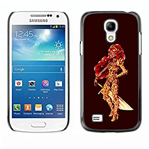 Paccase / Hard Protective Case Cover for - Warrior Princess Golden Red Hair Sword Bling - Samsung Galaxy S4 Mini i9190 MINI VERSION!