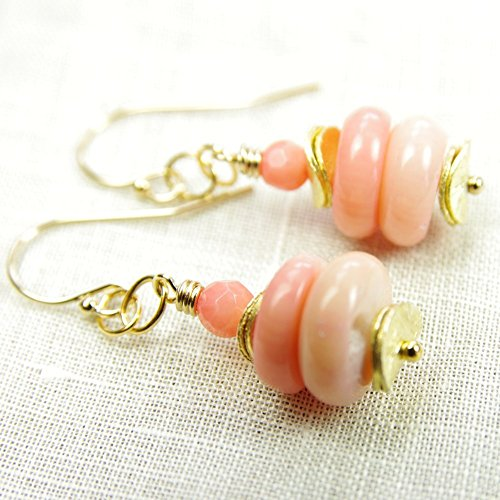 Peach Pink Coral Earrings 14kt Gold Filled Elegant Beaded Dangle 35th Anniversary ()