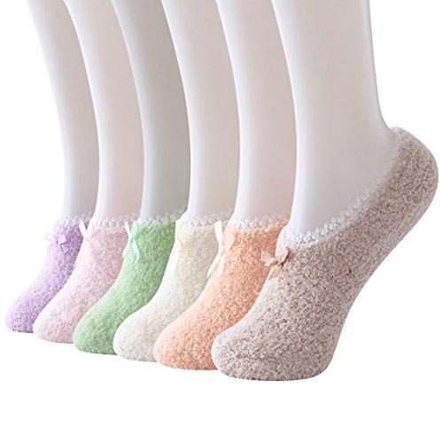 Skola Warm Winter Slipper Socks For Womens Non Skid Anti Slip Grip Soft Cozy Fuzzy Yoga Socks (Low cut 6 pairs pack)