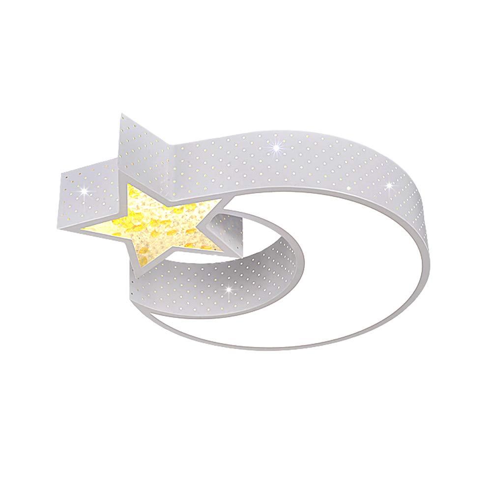 NACHEN L/ámpara de Techo L/ámpara para ni/ños L/ámpara de Dormitorio L/ámpara de Estudio Luz Chica Moda Dibujos Animados Estrella Luna Luces de Techo,White,52 9cm