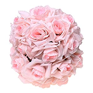 "SODIAL(R) 8""(20cm)Wedding Decorations Artificial Rose Silk Flower Ball Centerpieces Mint Decorative Hanging Flower Ball Wine(light pink) 101"