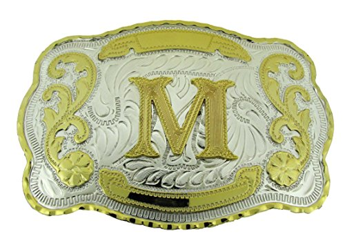 Initial Belt Buckles Western Cowboy Texas us Style Men Rodeo Fashion Metal New (Initial Letter - Belt Cowboy Big
