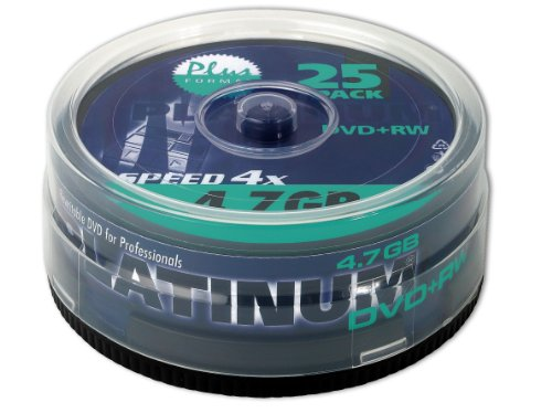 Platinum 4,7 GB DVD+RW DVD-Rohlinge (4x Speed, 120 Min) in 25er Spindel-Cakebox