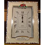 SILVER & IVORY WHITE MARBLED 40TH ANNIVERSARY CLOCK / RUBY WEDDING GIFT