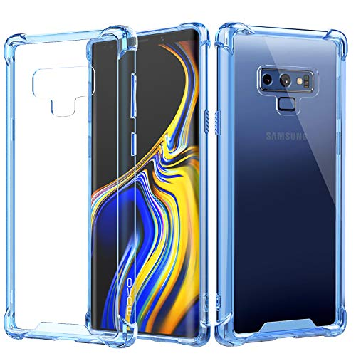 MoKo Samsung Galaxy Note 9 Case, Crystal Clear Reinforced Corners TPU Bumper and Hybrid Rugged Anti-Scratch Transparent Back Panel Cover Case Fit with Samsung Galaxy Note 9 (2018) 6.4 Inch - Blue