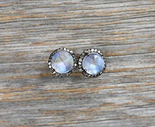 Rainbow Moonstone Diamond Round Halo Stud Earring Sterling Silver June birthstone - 10 mm (Earrings Diamond Moonstone)