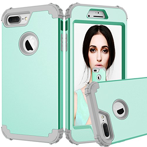 Jaz iPhone 7 Plus 8 Plus Case High Impact Dual Layer Hybrid Heavy Duty Shockproof Anti-Scratch Full-Body Protective Cover for iPhone 7Plus/8Plus (Green)