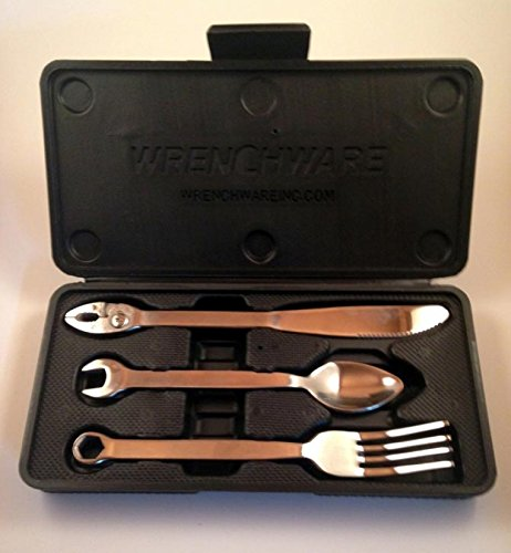 Wrenchware 3 piece silverware cutlery set knife fork and spoon handyman tools ebay - Handmade gs silverware ...