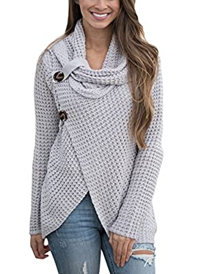 Asvivid Women's Chunky Turtle Cowl Neck Asymmetric Hem Wrap Sweater Coat with Button Details