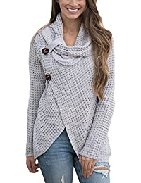 Women's Chunky Turtle Cowl Neck Asymmetric Hem Wrap Sweater Coat with Button Details(FBA)