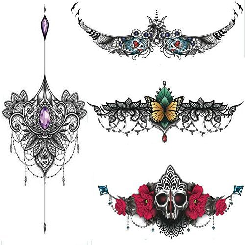 56d8f6811c891 NALEDI 4 sheets Art Temporary Tattoo Transfer Sticker fashion waterproof sternum  tattoos Creating Your Own Temporary
