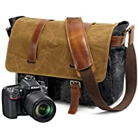 Peacechaos Mens Canvas Leather DSLR SLR Vintage Camera Messenger Bag