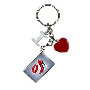 Amazon.com: Rojo Stiletto y los labios I Heart Amor Llavero ...